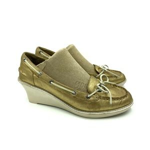 Sperry Top Sider Angelfish Gold Boat Shoe Wedge